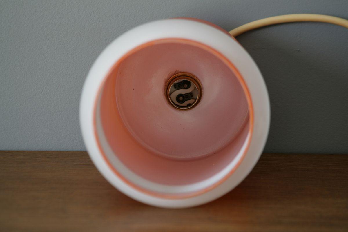 Suspension opaline orange et blanche Années 70 - Vintage