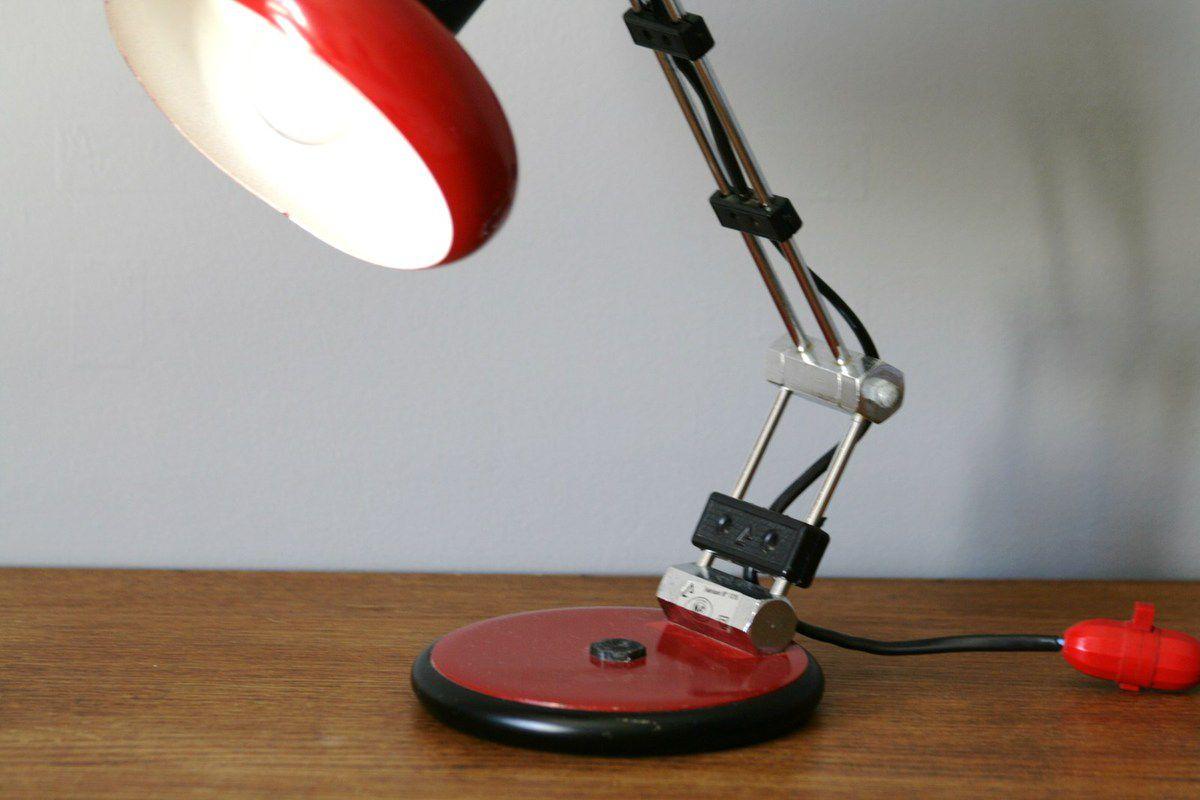 Lampe Aluminor articulée rouge Années 70 - Vintage
