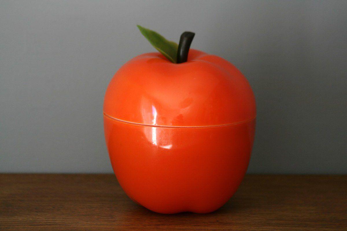 Pomme orange avec feuille Seau à glaçons Années 70 - Vintage