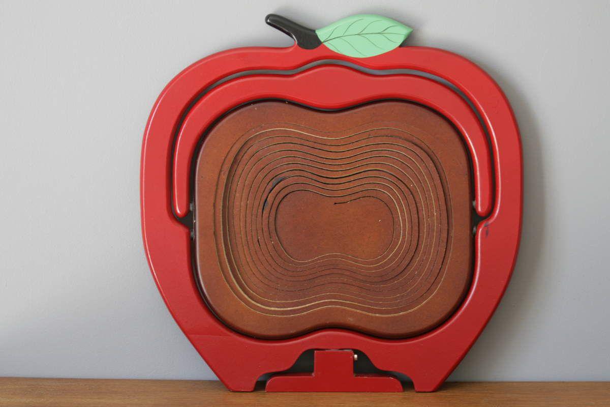 Grand panier en bois en forme de pomme Vintage