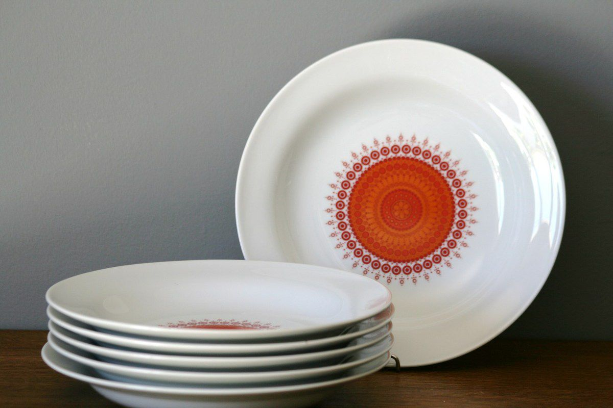 Assiettes Winterling Bavaria Décor rouge et orange Années 70 - Vintage