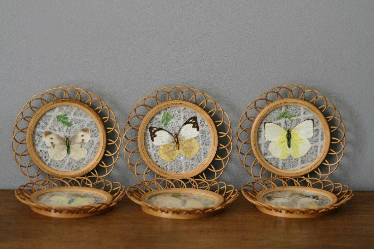 Dessous de verre en osier décor papillon Années 70 - Vintage