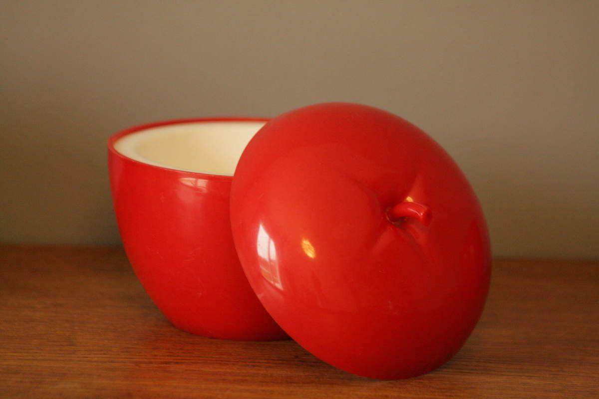 Pomme seau à glaçons rouge Années 70 - Vintage
