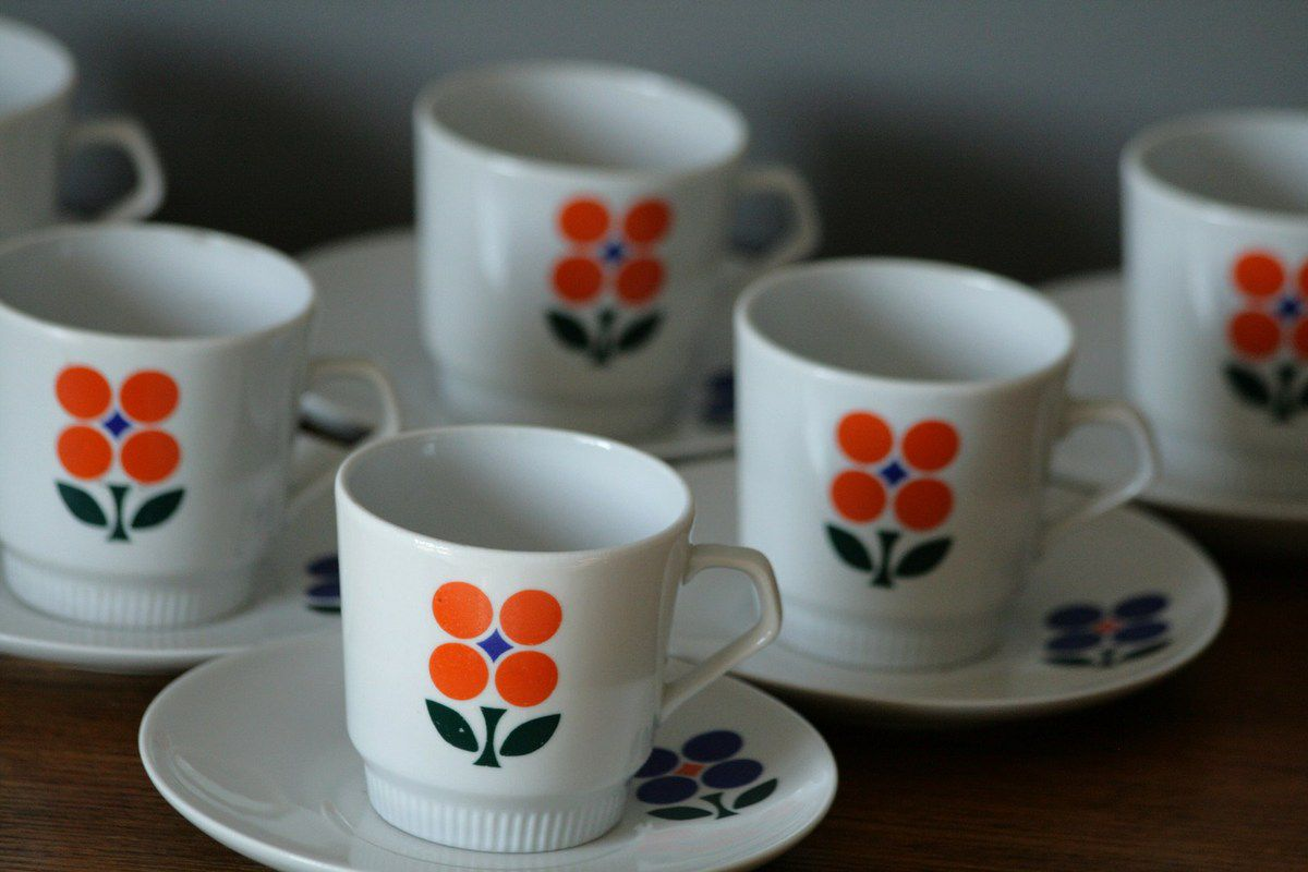 Lot de 6 tasses à café Made in GDR Années 70 - Vintage