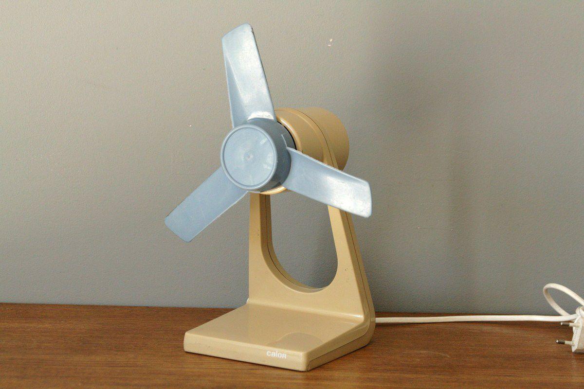 Ventilateur Calor beige et bleu Années 70 - Vintage