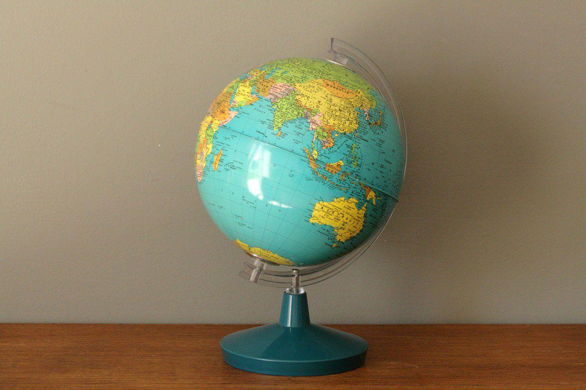 Globe pied bleu Années 70 - Vintage