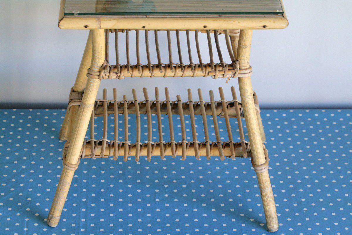 Petite table en rotin Années 70 - Vintage