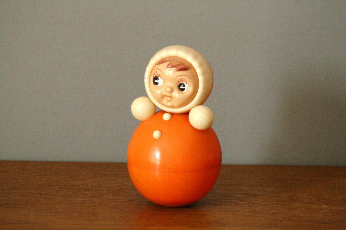 Poupée Culbuto orange Années 70 - Vintage