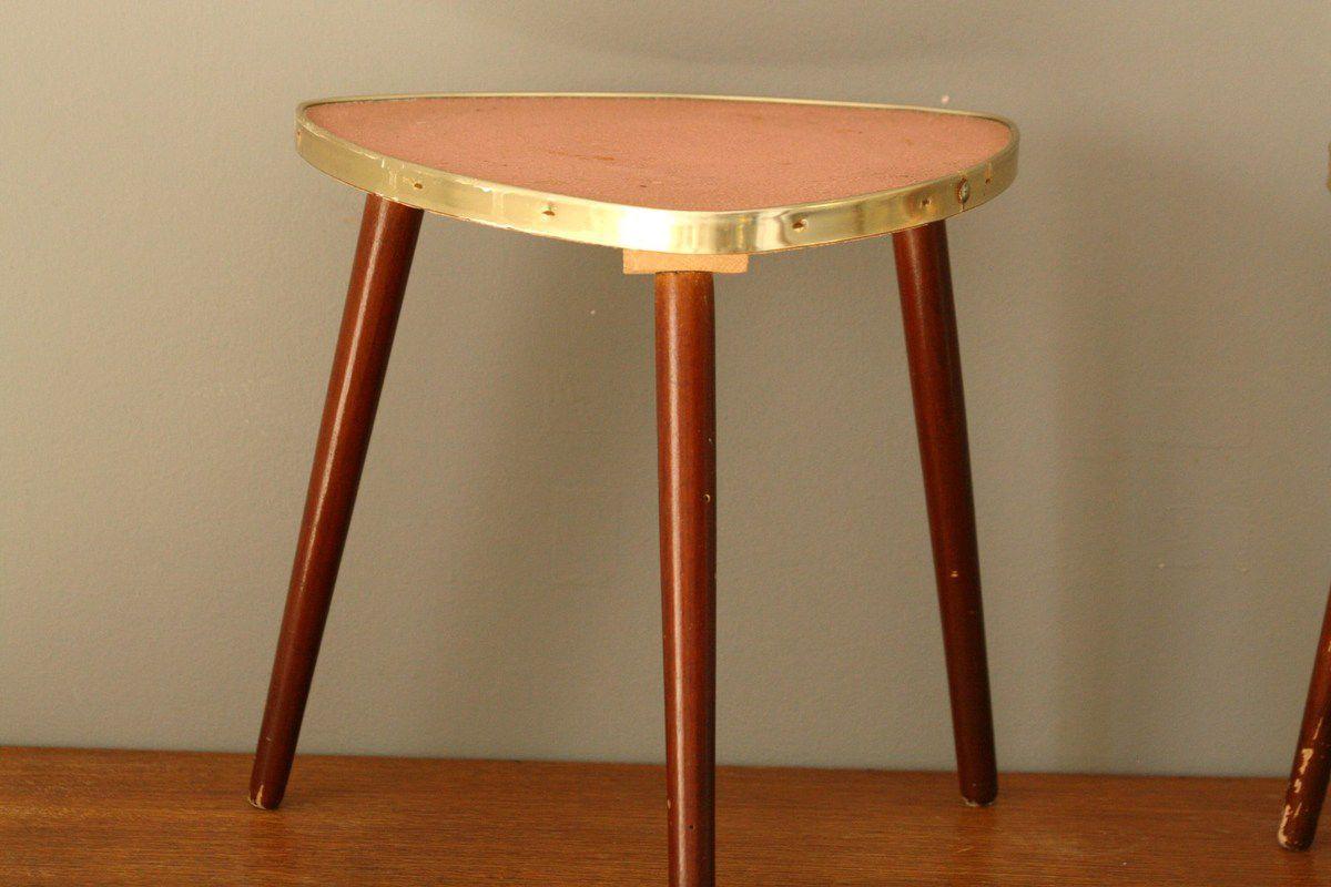 Lot de 2 mini tables tripodes Années 50 - Vintage