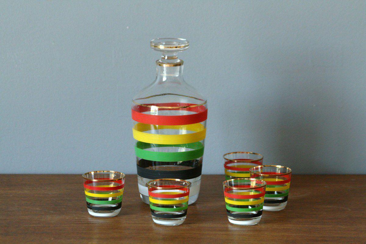 Carafe à liqueur avec 5 petits verres Années 50 -Vintage