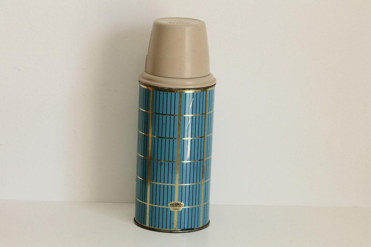 Thermos en métal Bleu et doré Années 60 - Vintage