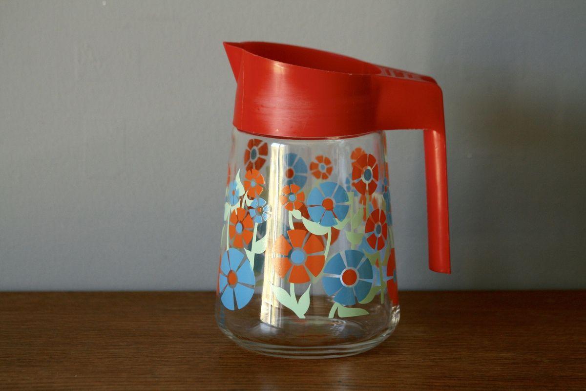Pichet carafe VMC décor fleur Années 70 - Vintage