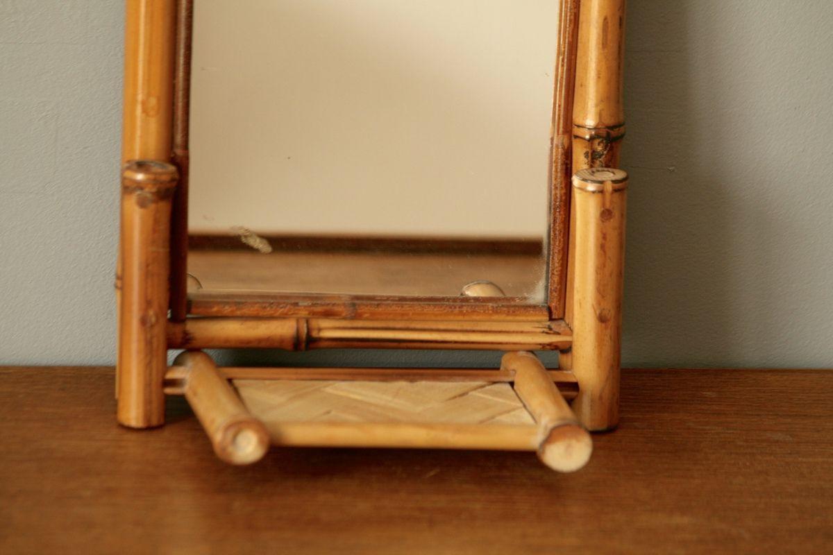 Petit miroir en bambou avec tablette Vintage
