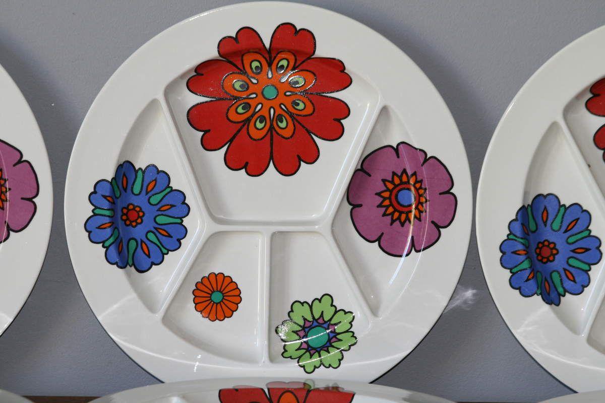 Assiette à compartiments Villeroy et Boch Septfontanes style Acapulco Années 70 - Vintage