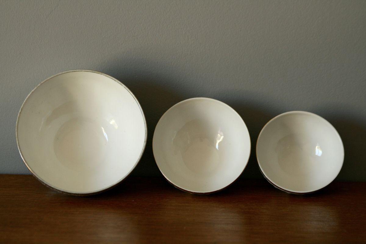 3 bols porcelaine liseret doré Années 60 - Vintage