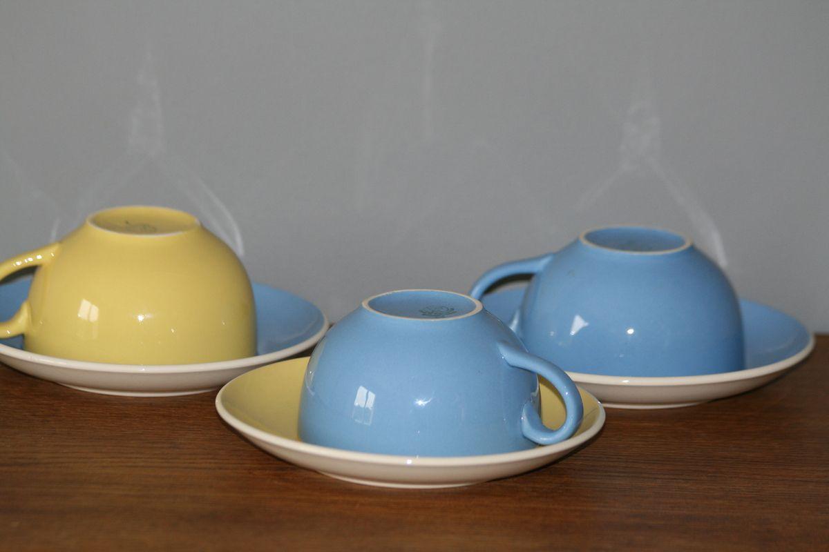 Lot de 3 grande tasses Villeroy et Boch Jaune et bleue