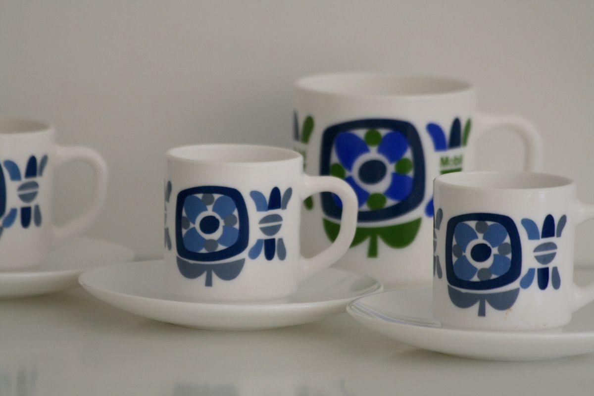 Tasses à café MOBIL arcopal Années 70 - Vintage