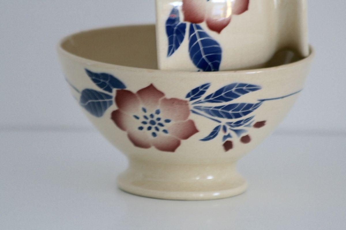 Lot de 2 bols ancien décor fleur bordeaux et bleue