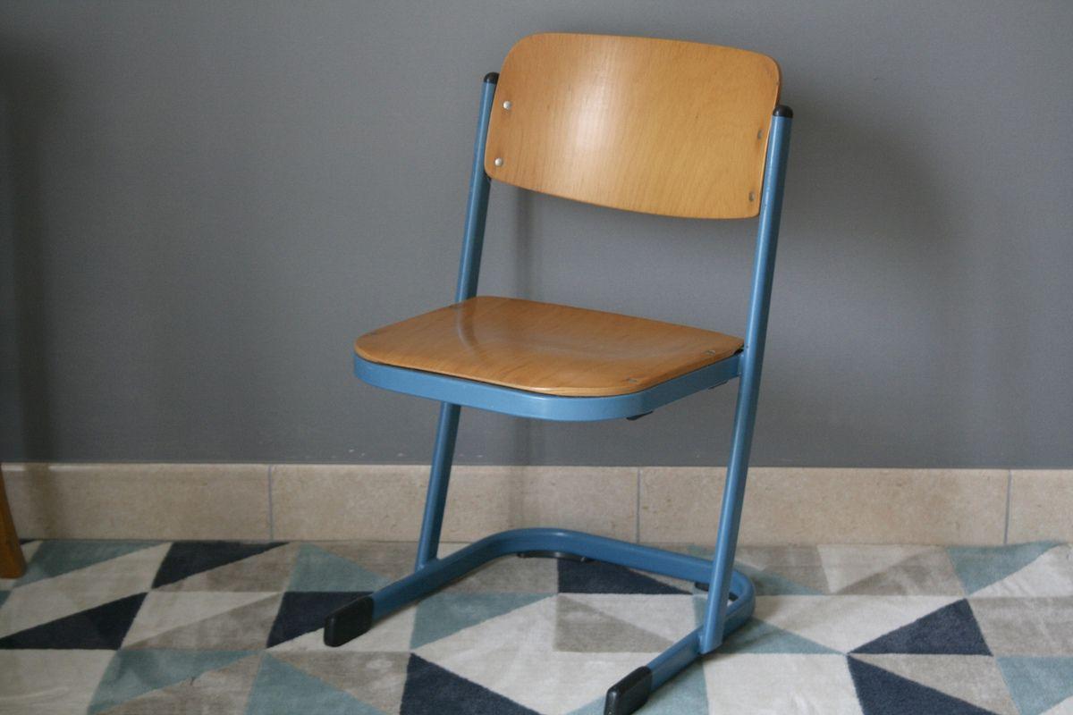 chaise d 39 cole vs pi tement m tal bleu ann es 70 vintage vintage family. Black Bedroom Furniture Sets. Home Design Ideas