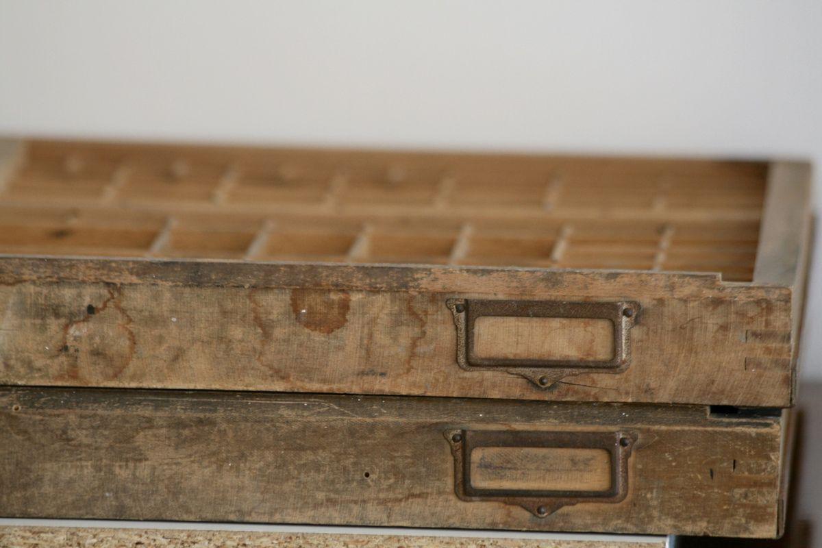 Superbe tiroir casier d'imprimerie Vintage