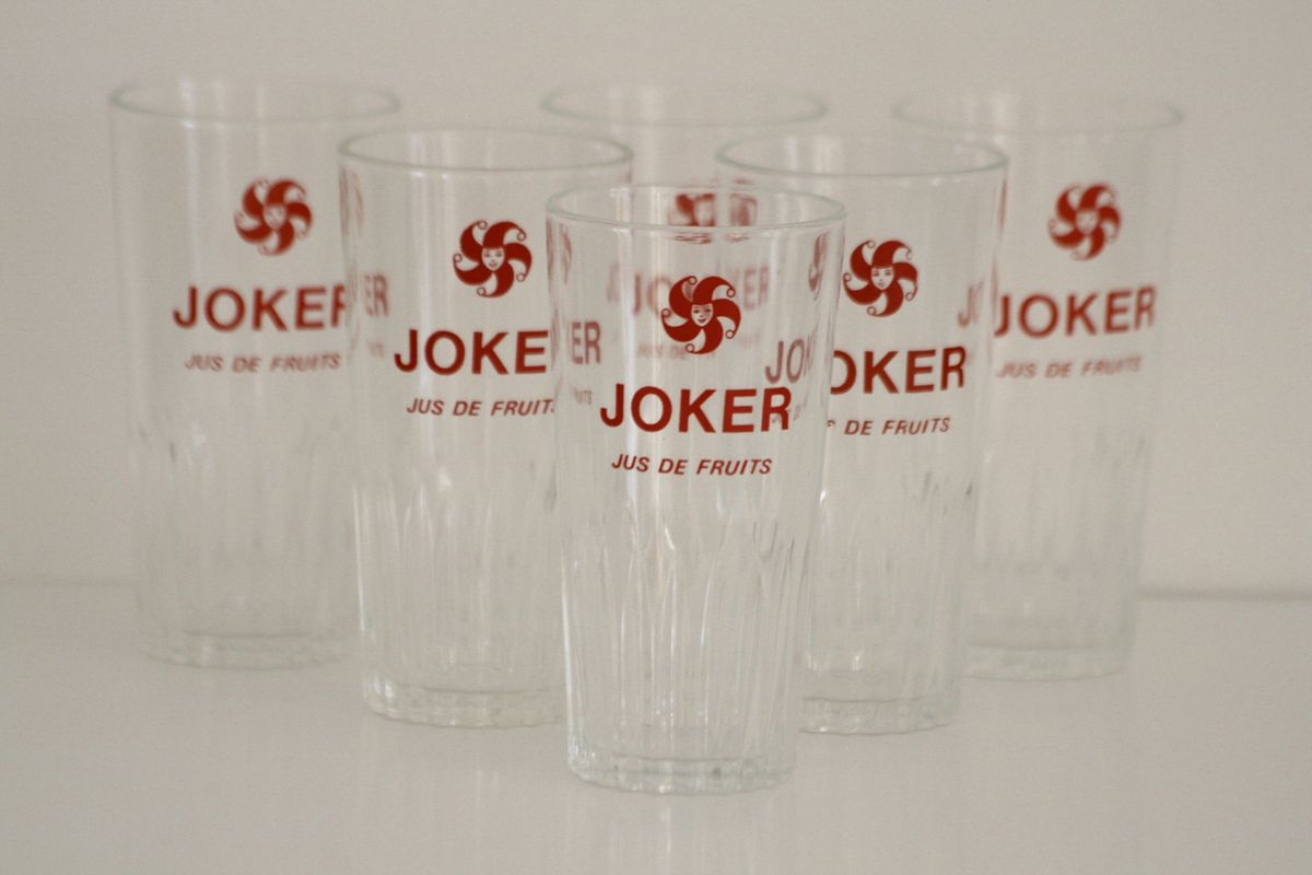 Lot de 4 verres anciens Joker Années 70 - Vintage