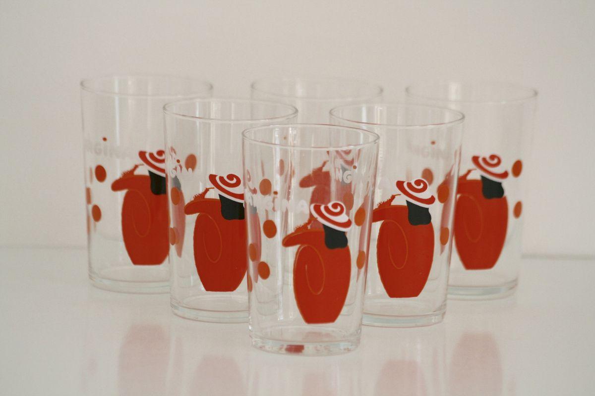 Série de 6 verres Orangina Années 70 - Vintage