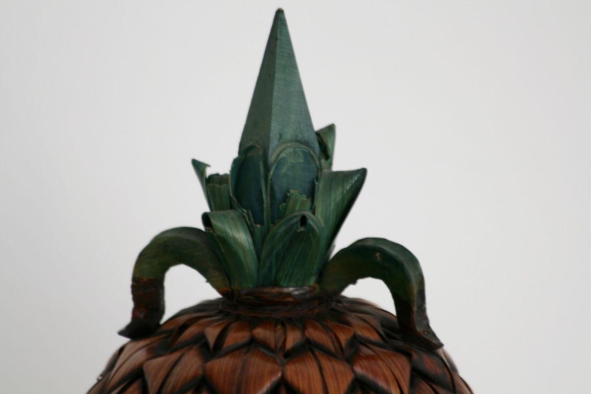 Boite Ananas en rotin Vintage