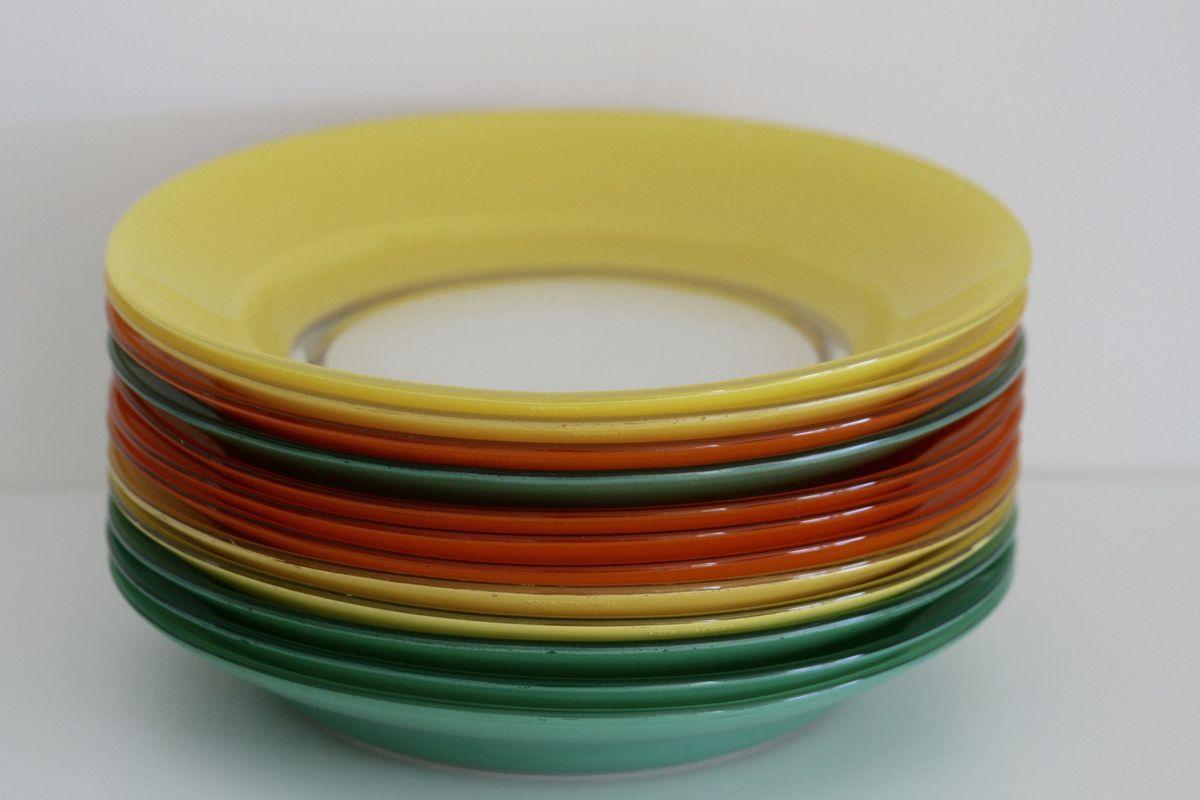 Assiettes à soupe Duralex de couleur Années 70 - Vintage