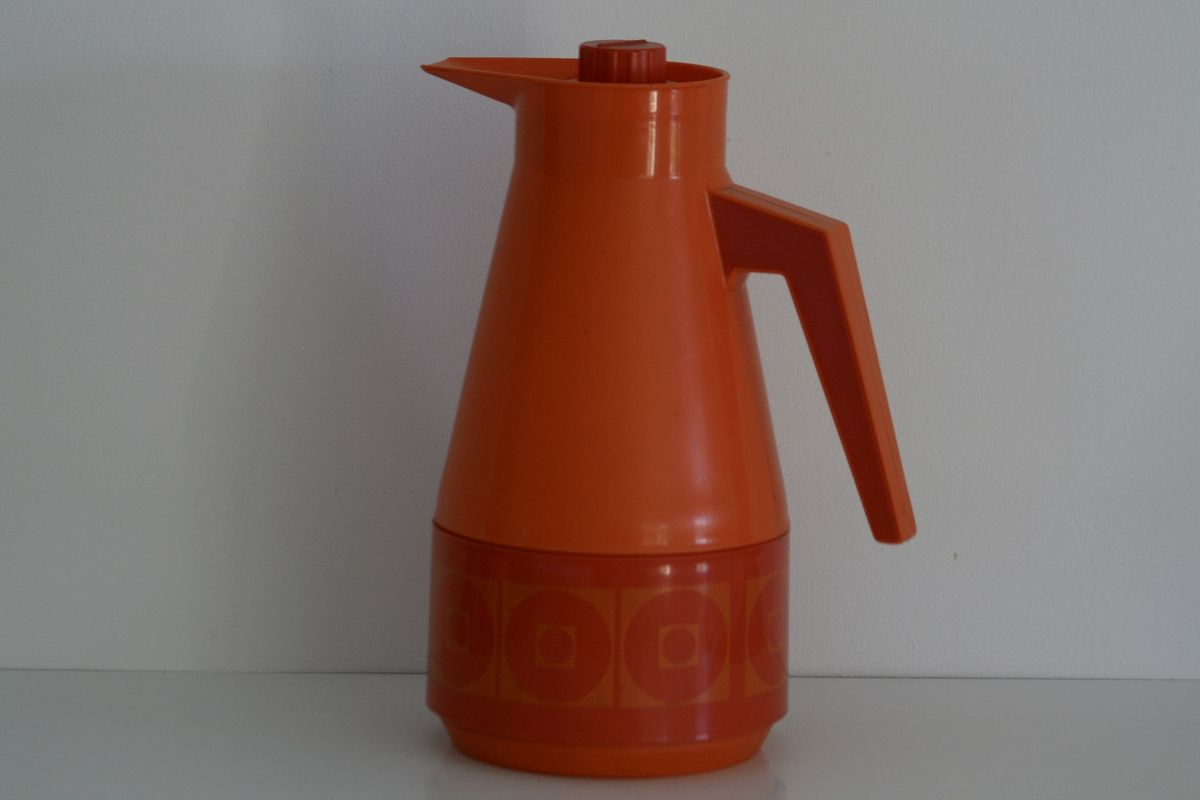 Grande thermos orange Années 70 - Vintage