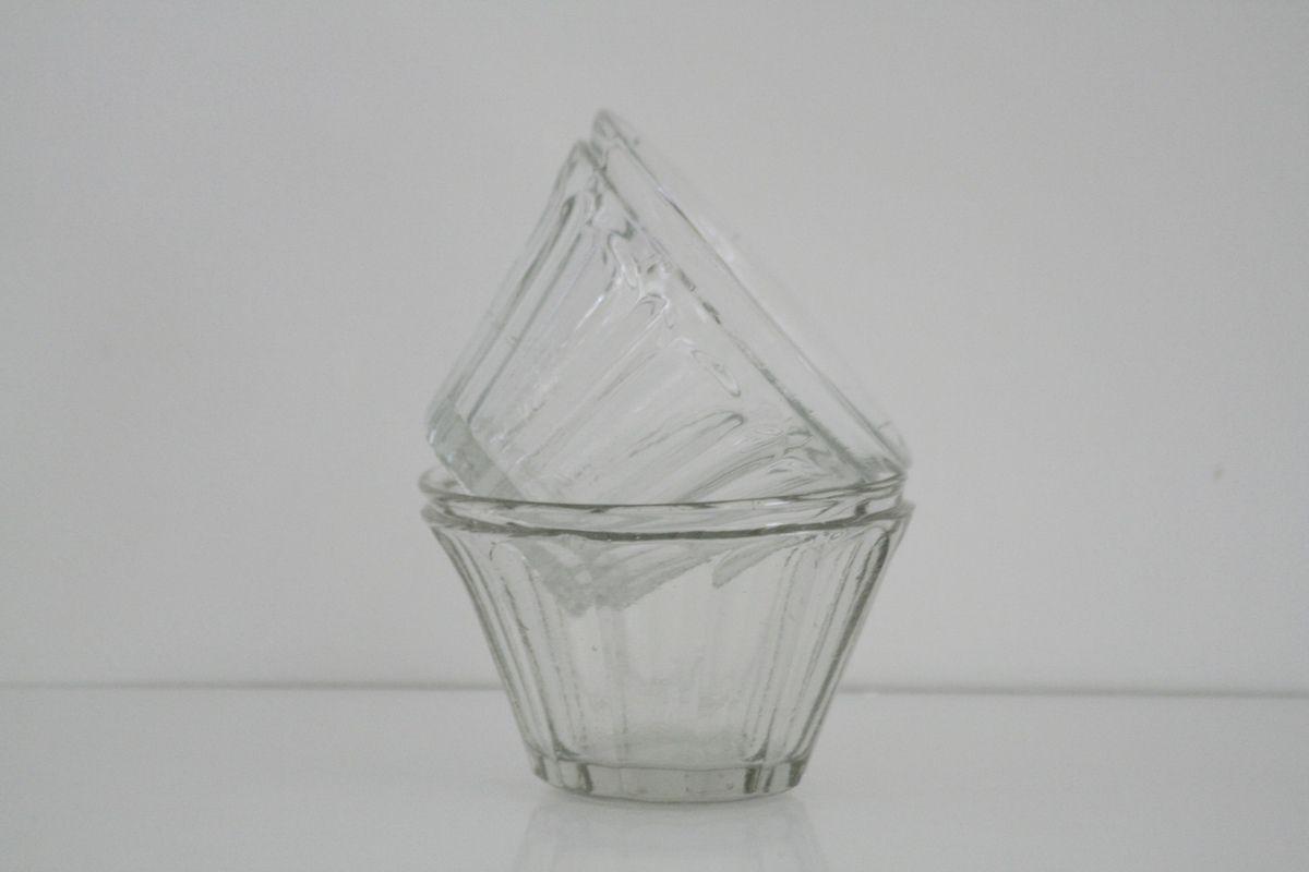 Pot à confiture ancien en verre moulé  Vintage
