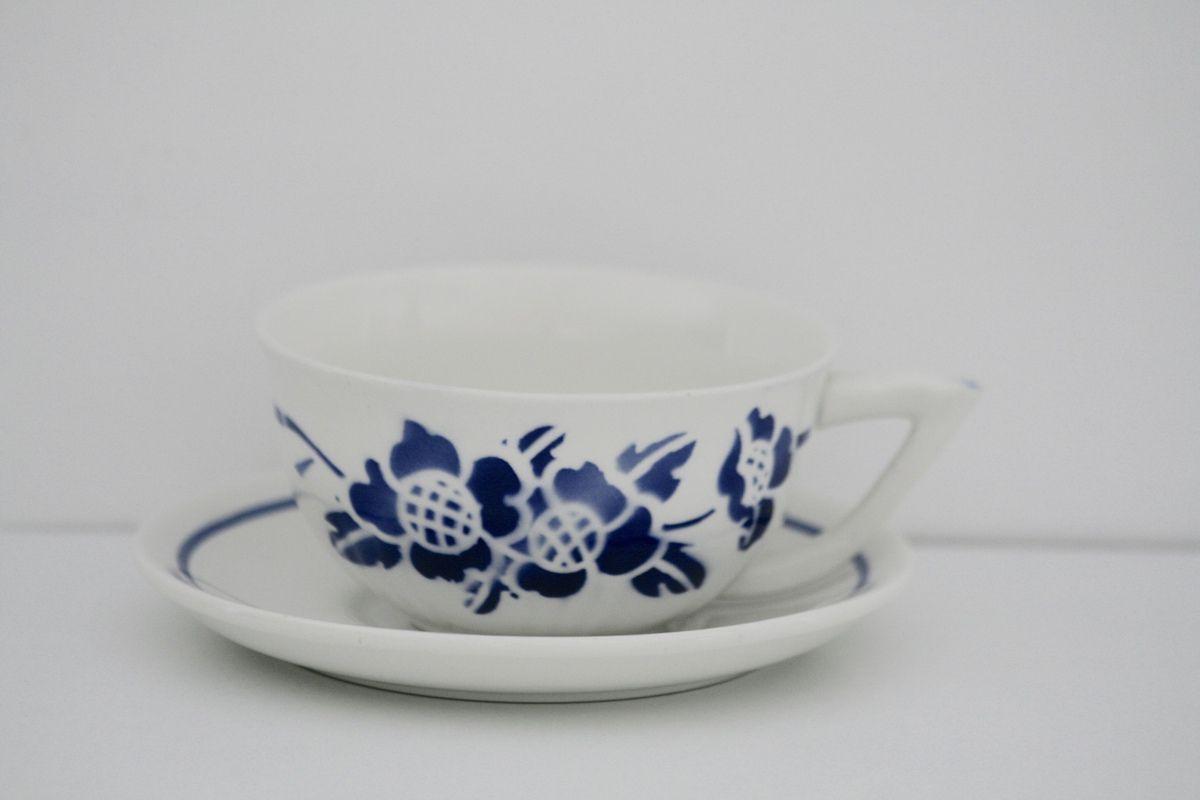 Grande tasse à café ancienne Décor fleur bleue Vintage