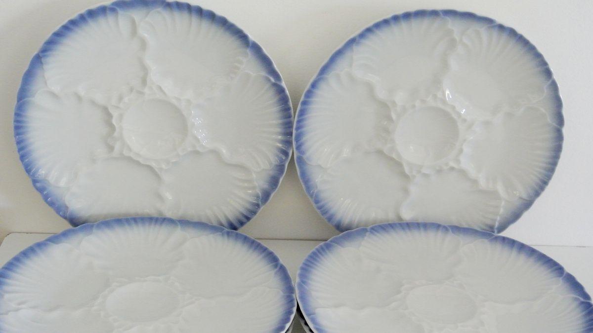 Lot de 6 assiettes à huitres Décor bleu Bareuther Bavaria Vintage