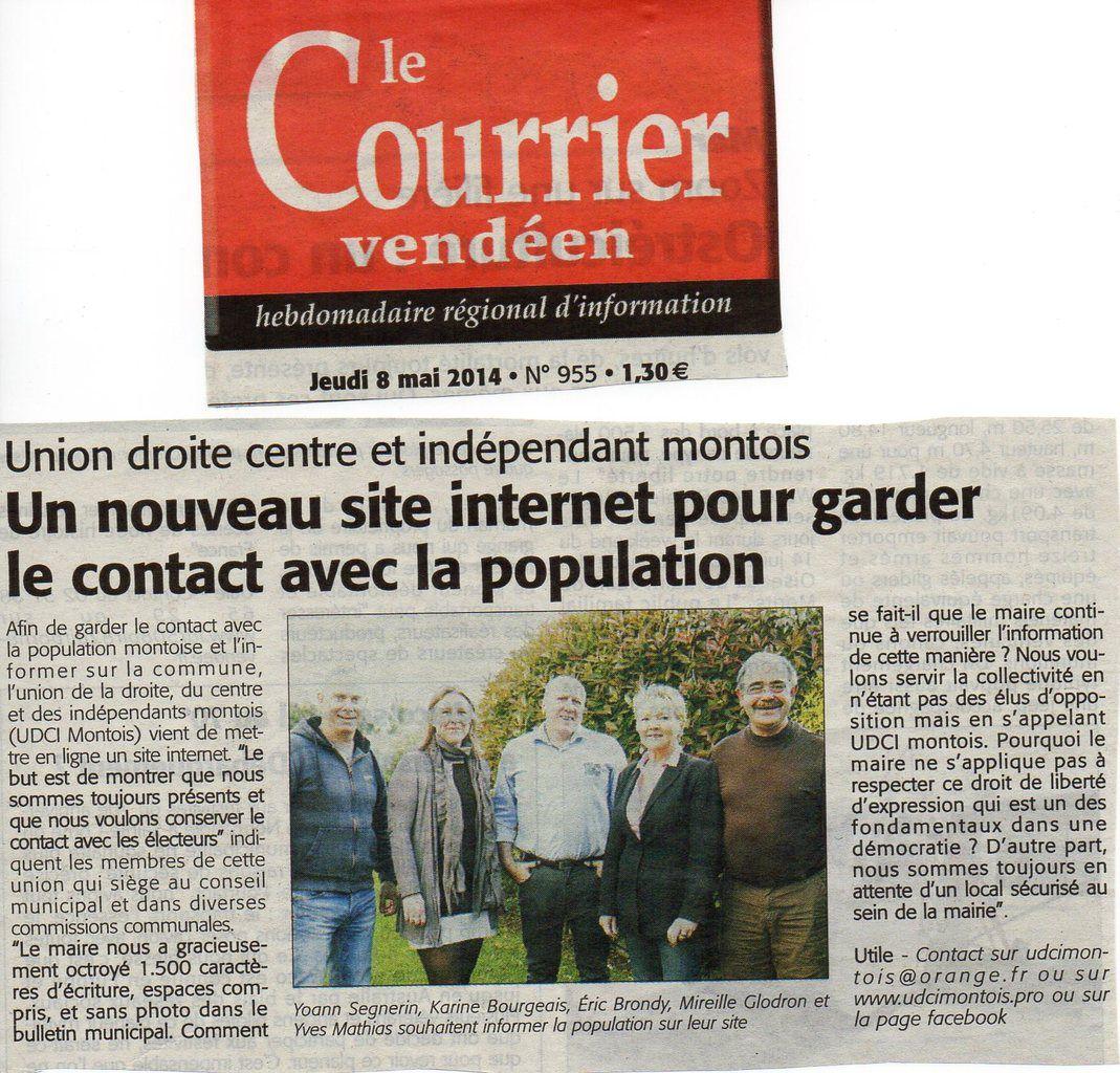 Le Groupe UDCI Montois - Courrier Vendéen du Mai  2014