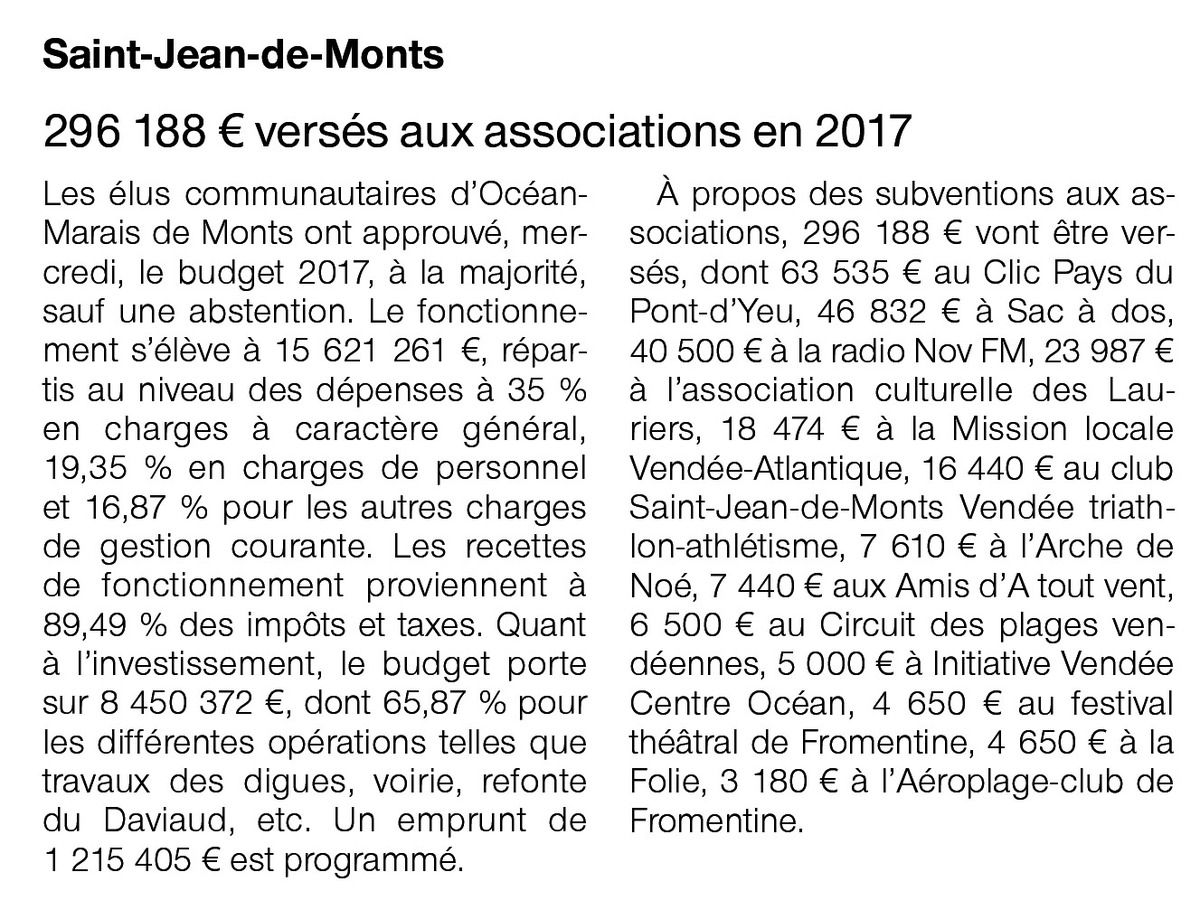Ouest France 07 avril 2017 - de Subvention Conseil OMDM