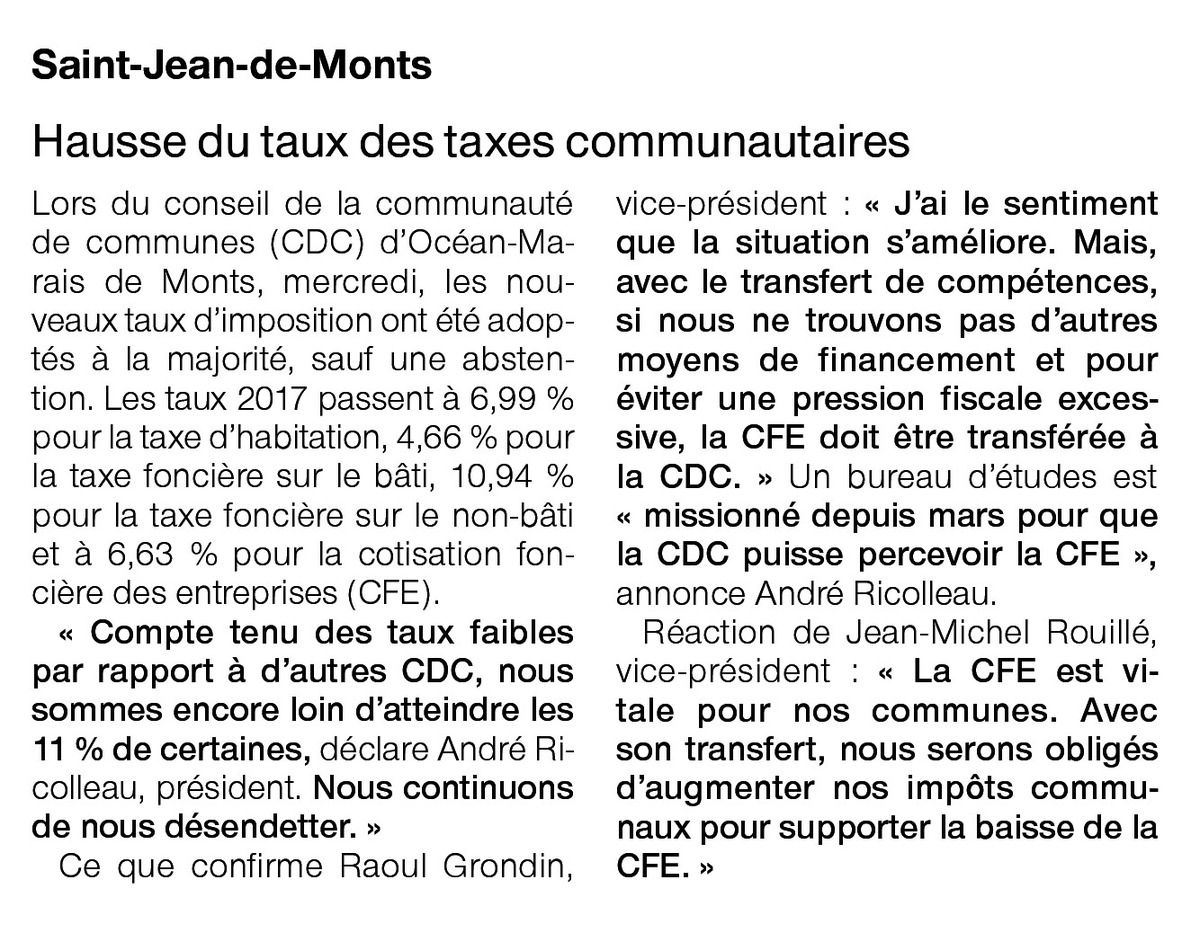 Ouest France 07 avril 2017 + DE TAXES PAYS DE MONTS