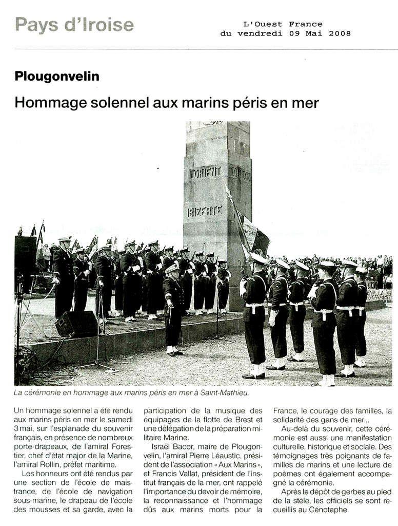 La revue de presse 2008 relative aux activités de l'association Aux Marins