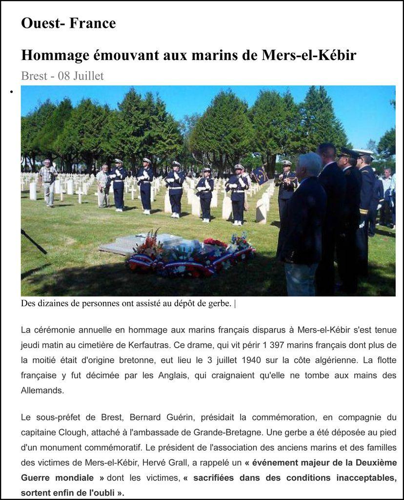 La revue de presse 2014 relative à l'activité de l'association Aux Marins