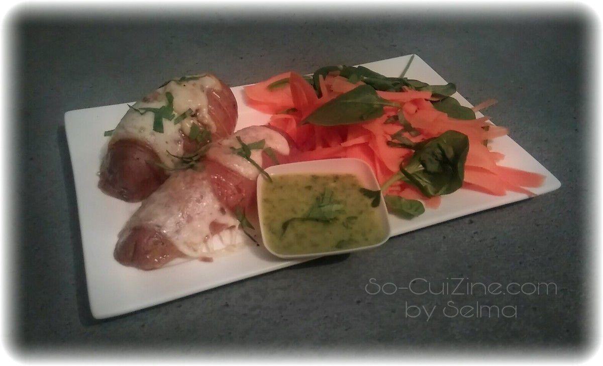 Pommes de terre hasselback à la mozzarella, gremolata et salade de carottes
