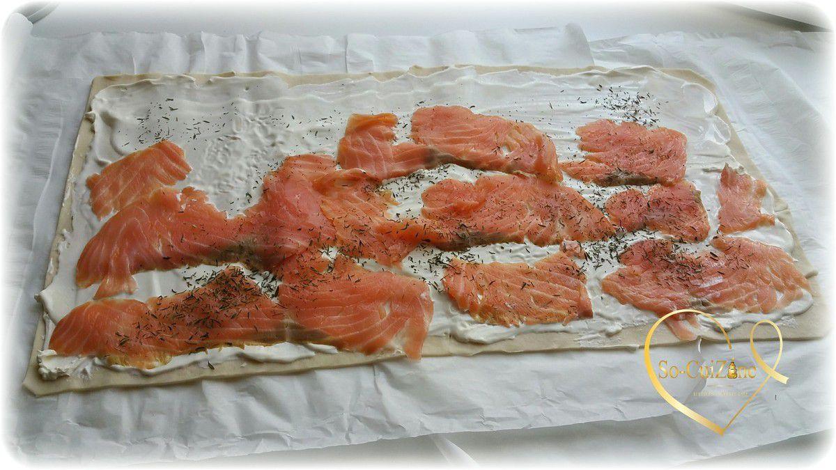 Couronne au fromage maison agrémenté de saumon fumé