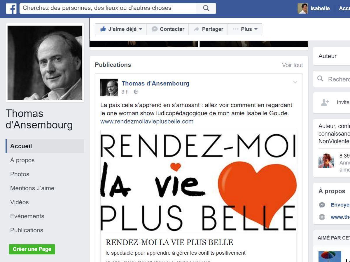 """Soutien officiel de Thomas d'ANSEMBOURG, conférencier international, formateur en Communication Non Violente, auteur du best seller """"Cessez d'être gentil, soyez vrai"""""""
