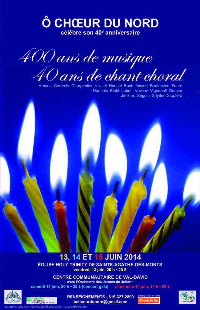 Concerts: 400 ANS DE MUSIQUE POUR 40 ANS DE CHANT CHORAL AVEC L'ENSEMBLE VOCAL Ô CHŒUR DU NORD