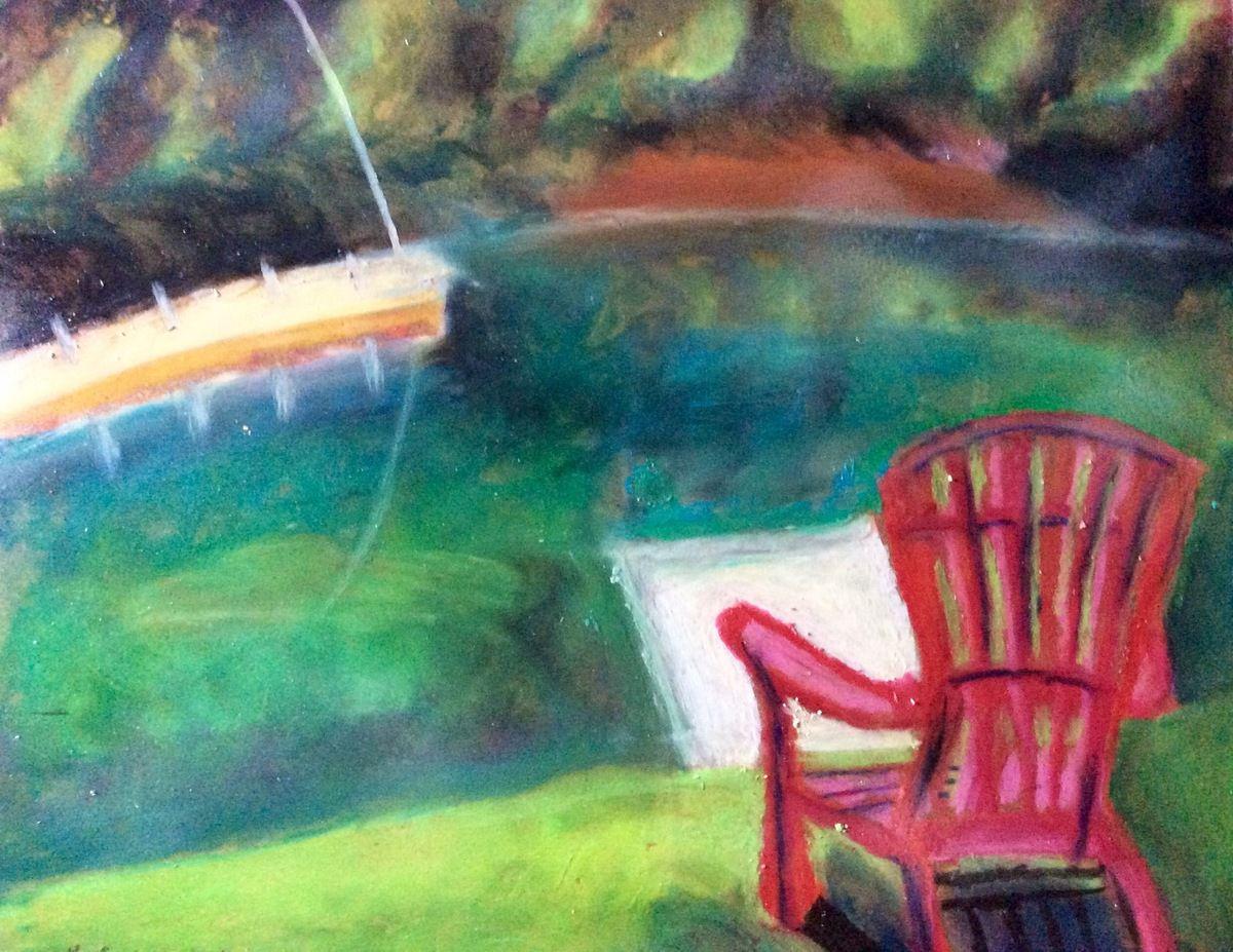 chaise rouge sur plage, 11x14