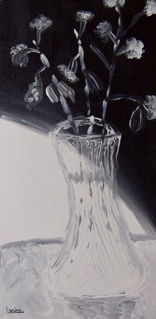 Hydrangers 1, Étude en Noir et Blanc, 12 X 24, Spatule et pinceaux, acrylique sur canevas
