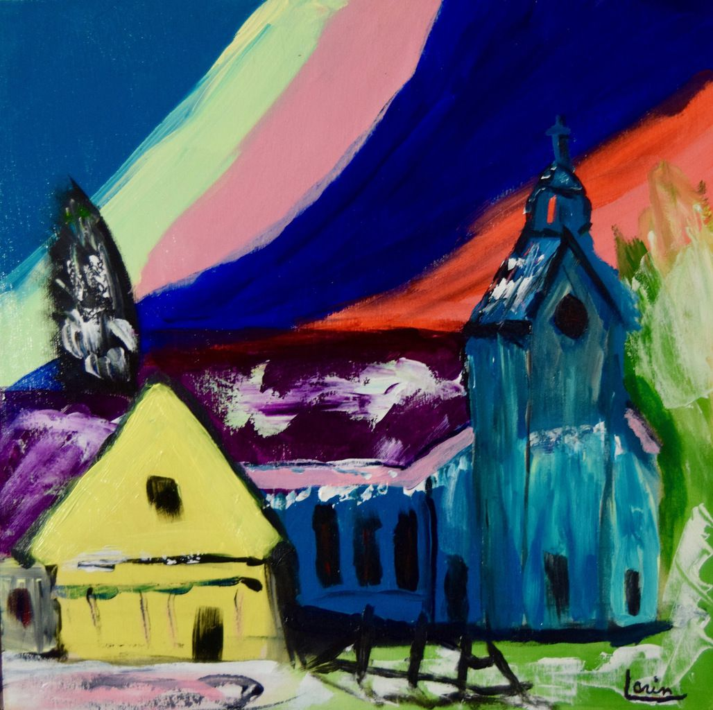 Village d'hiver pour Léa, 18 X 18 acrylique sur bois