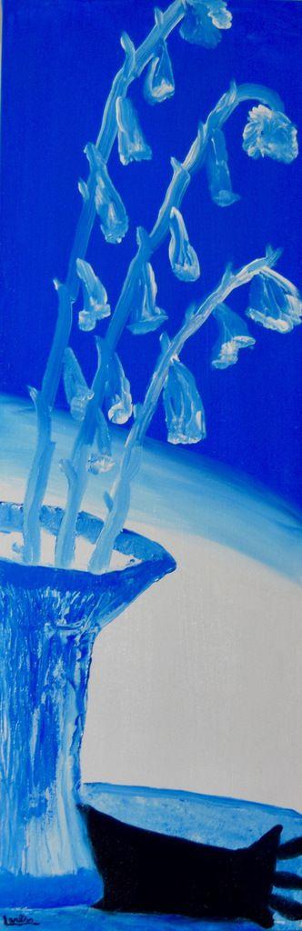 Glaïeuls bleus, 12 X 36 acrylique sur canevas