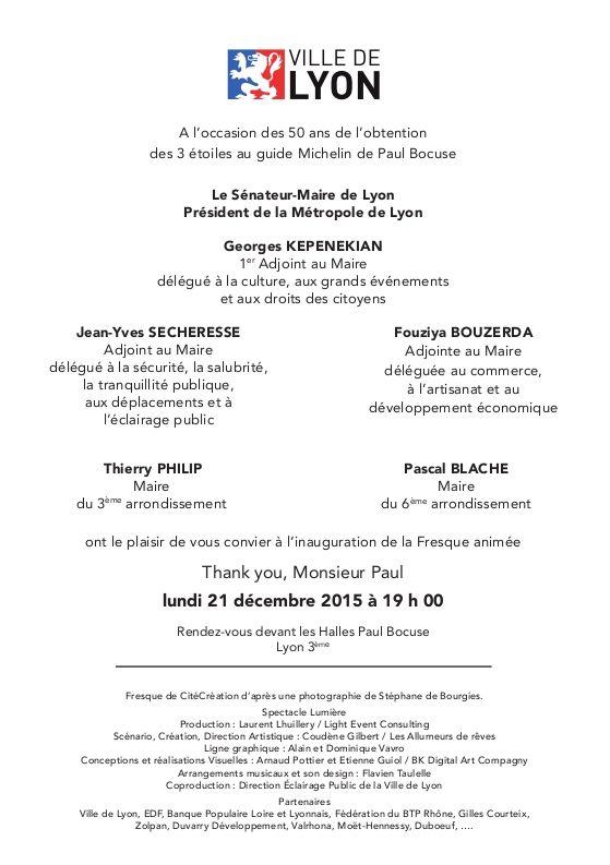 inauguration de la Fresque animée Paul BOCUSE aux Halles de Lyon