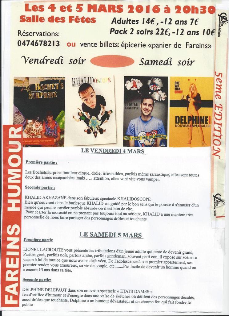 Fareins Humour:Les 4&amp&#x3B;5 Mars