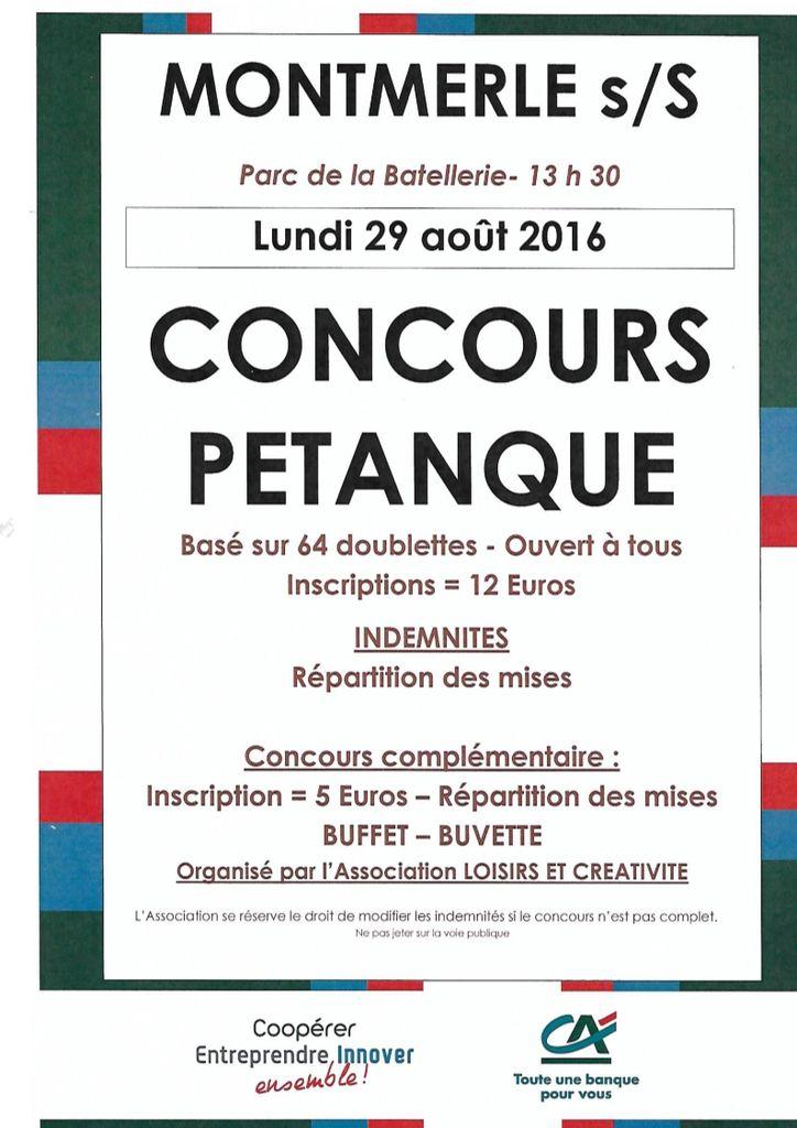 Montmerle: Lundi 29 Août Concours De Pétanque
