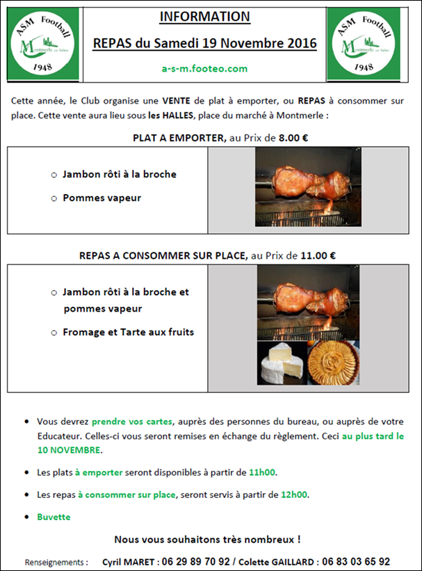 ASM Football :Repas du 19 Novembre 2016