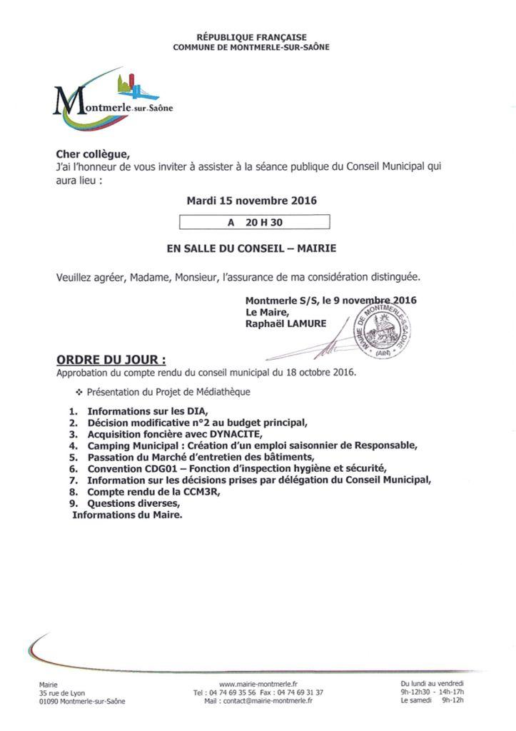 Ordre du Jour Du Conseil Municipal Du 15 Novembre 2016